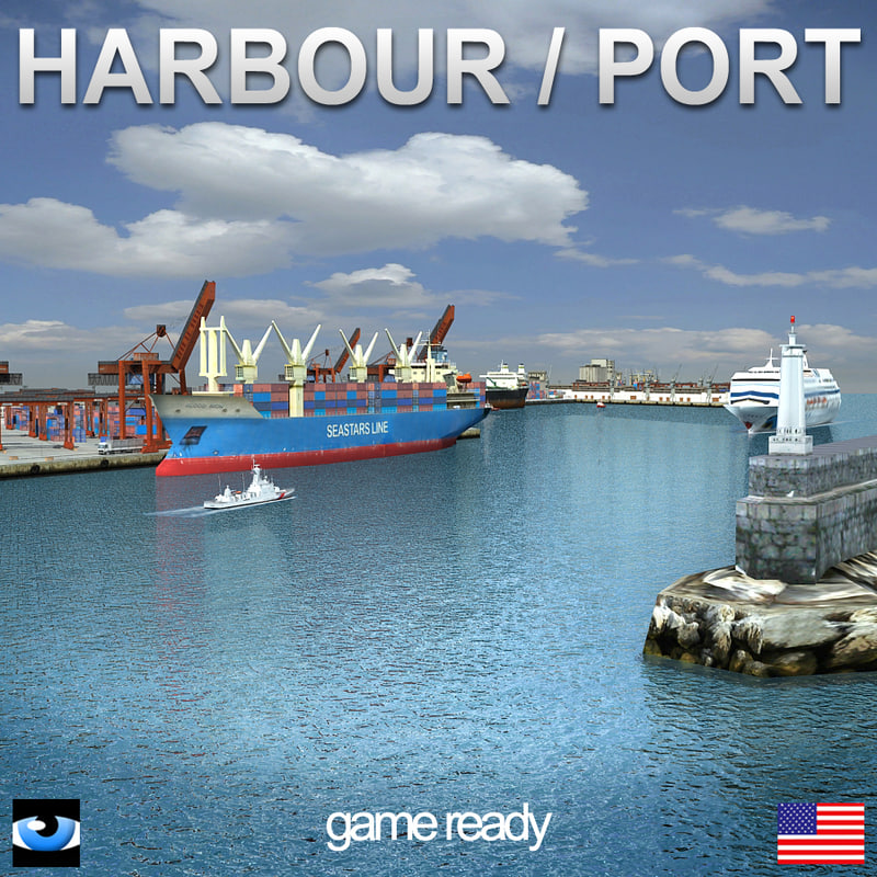 harbour port crane 3d model
