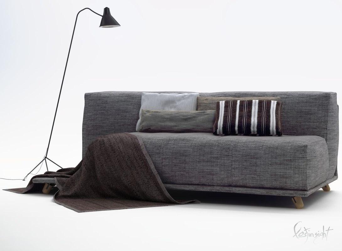 3d model modern sofa furniture carlito