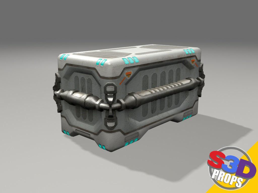 3d sci-fi big crate model
