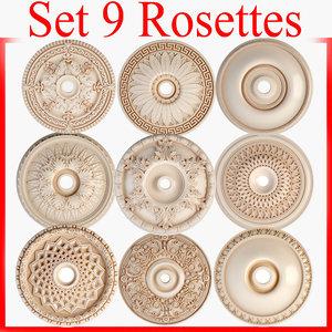 3d model rosettes petergof set