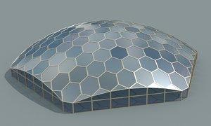 hexagon glass dome obj