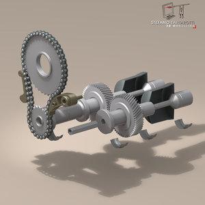 gear drive shaft 3d dxf