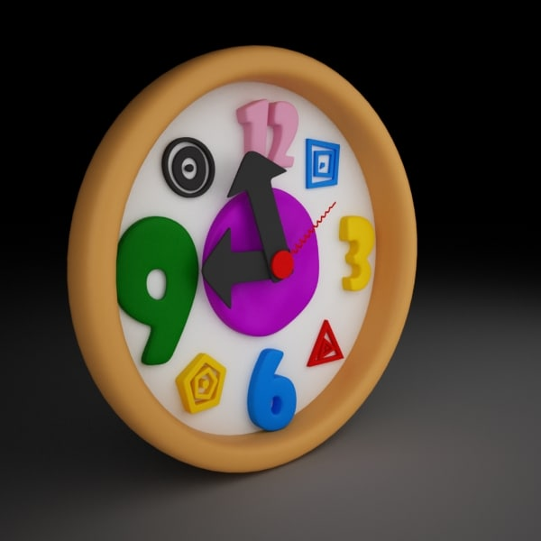 funny cartoon clock 3d max
