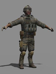 military human 3d max