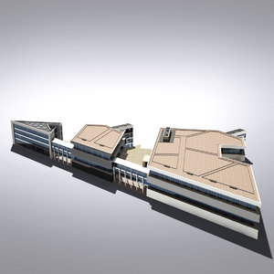 modern generic building 3d max