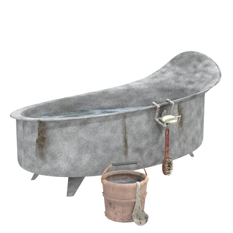 bathtub bucketful 3d model