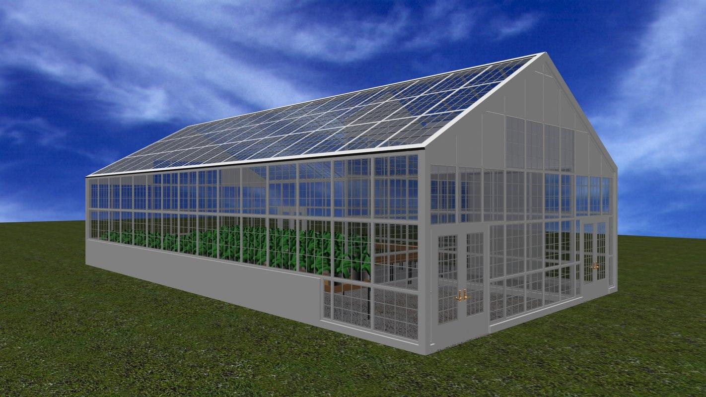 3d model of greenhouse wood glass