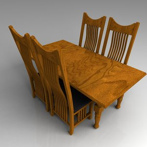 3d model table chair set