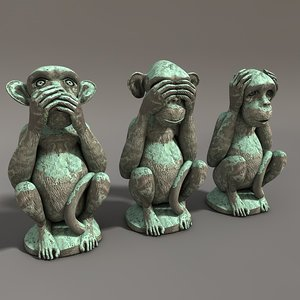 3d model of stone monkey