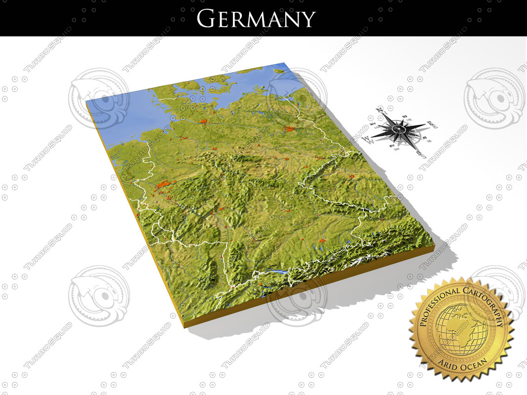 Map Of Germany 3d.Germany Resolution Relief Maps 3d Model