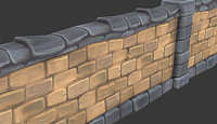 hand painted stone wall 3d 3ds