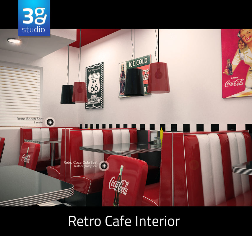 3d model retro cafe interior