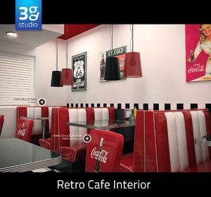 3d model retro cafe interior