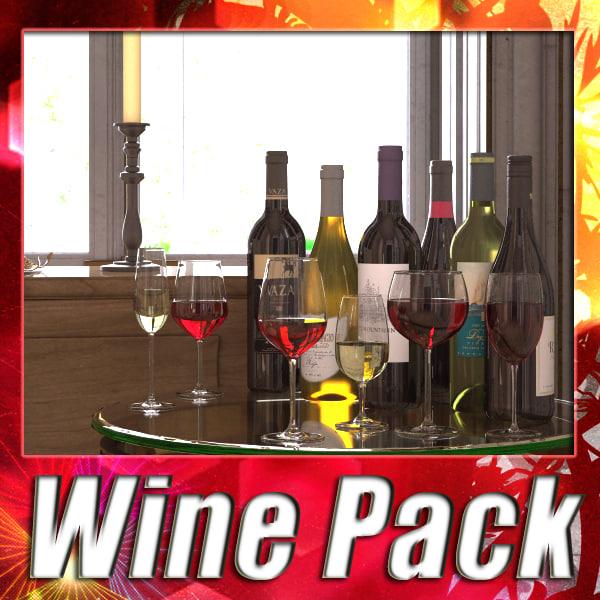 6 wine bottles glasses 3d 3ds