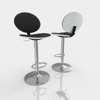 Bar stool 15 black leather white plastic