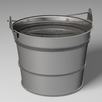 3d bucket tin metal model