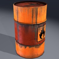 Barrel, explosive, flammable, old. Game ready!