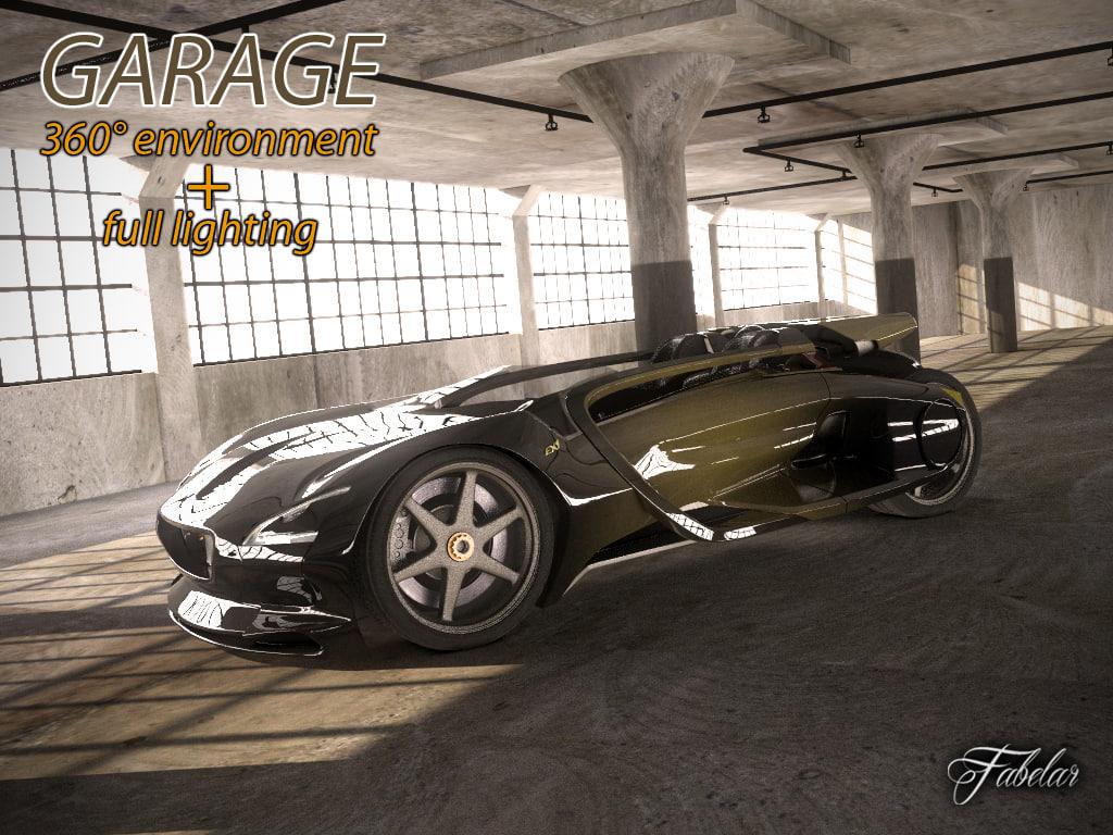 3d model garage environment render