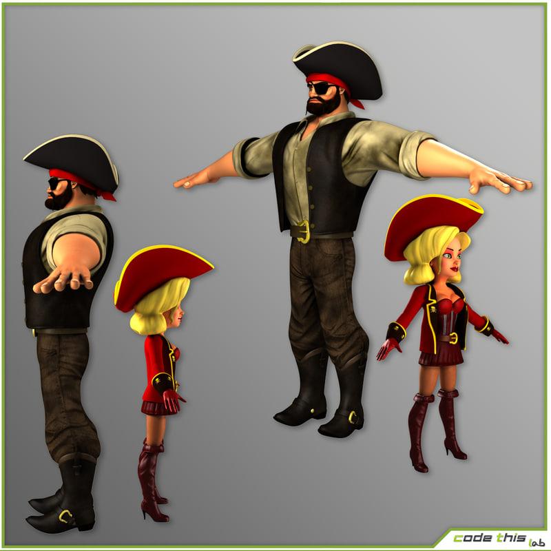 3d pirates female male