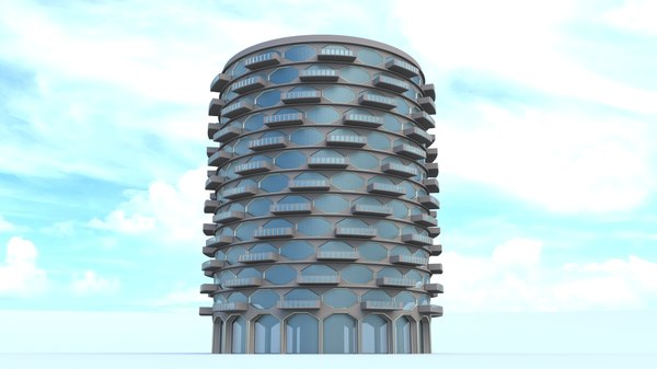 3d model building hexagon balconies