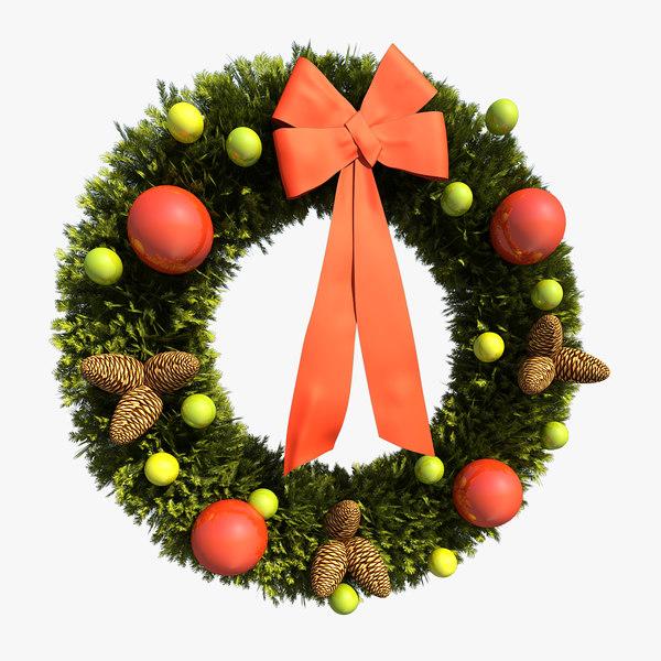 3d christmas wreath model