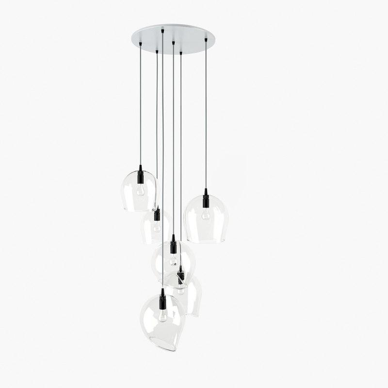 3d glass pendant light