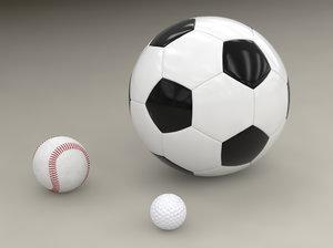 3ds max modelled soccer ball baseball