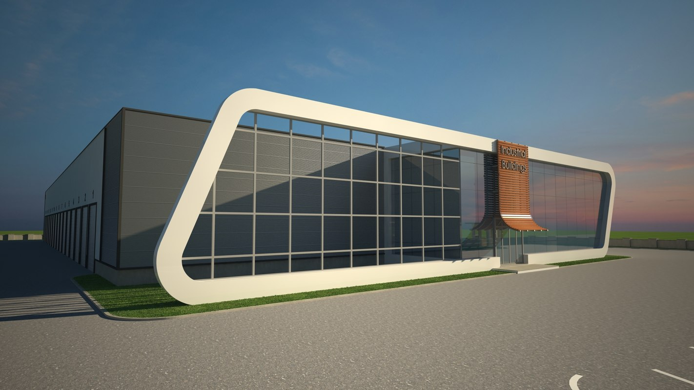 3d model industrial building v3