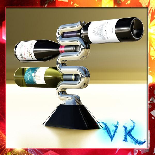 wine rack 3 bottles 3ds