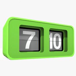 3d model flip clock