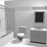cabinet toilet shower 3d c4d
