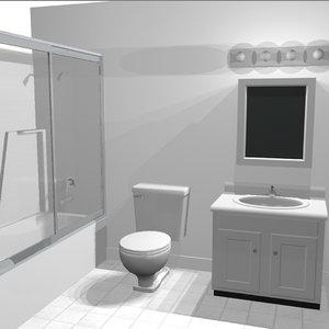 cabinet toilet shower 3d c4d