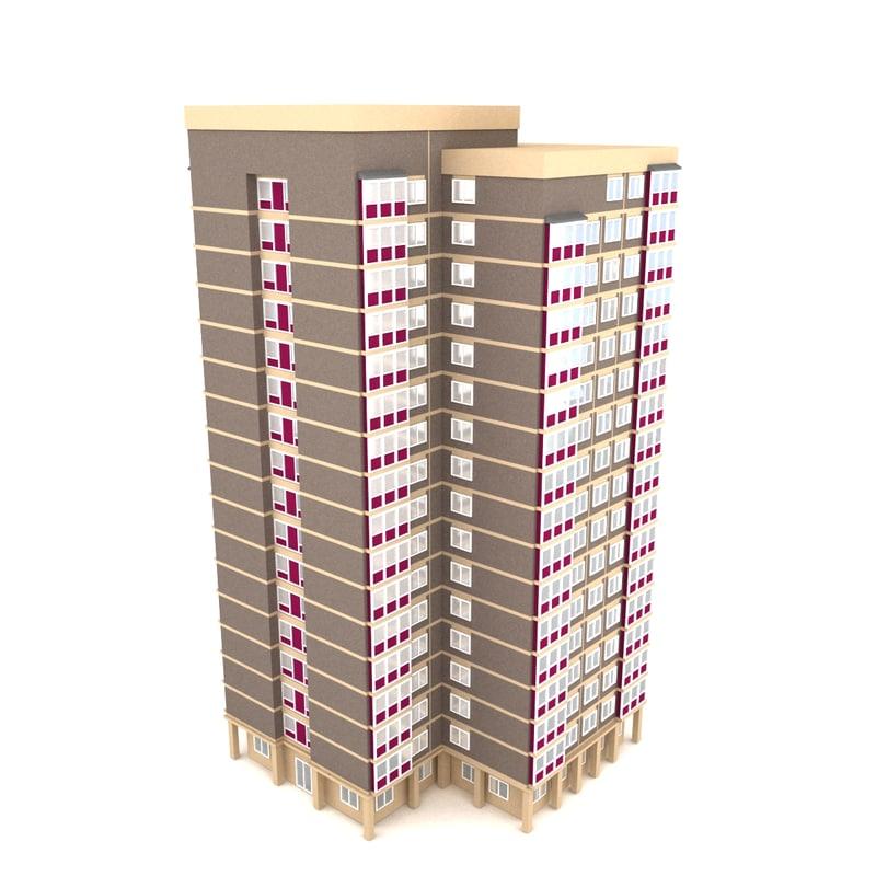 3d model block flats background