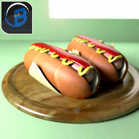 3d model cartoon hotdog