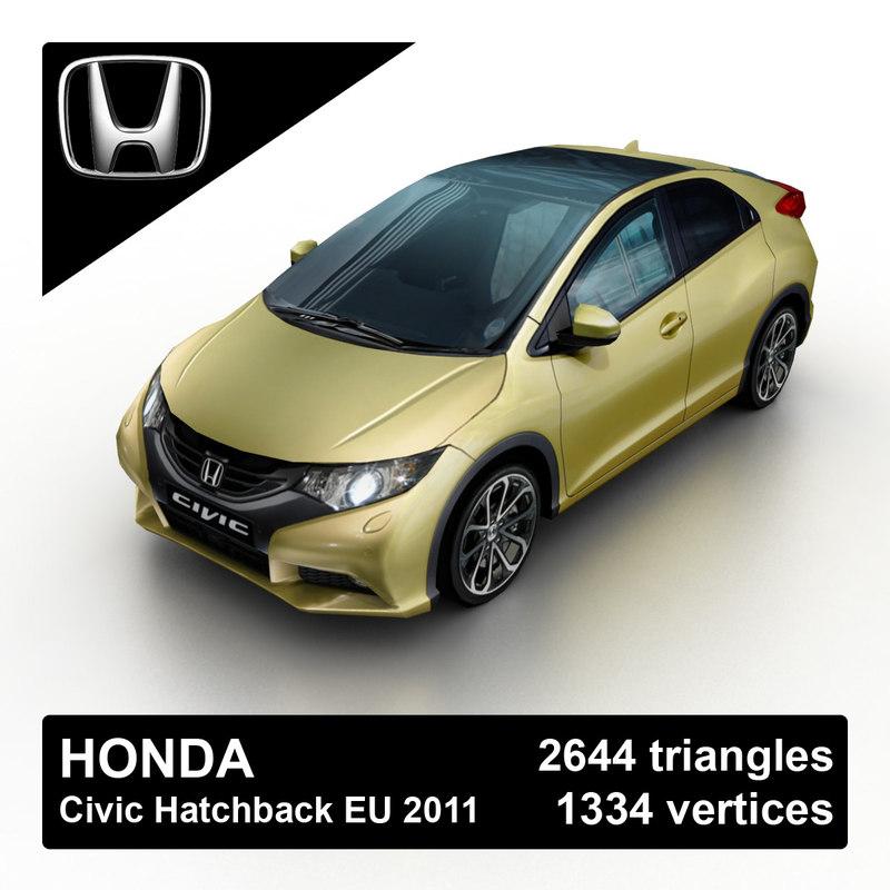 2011 honda civic hatchback 3d model