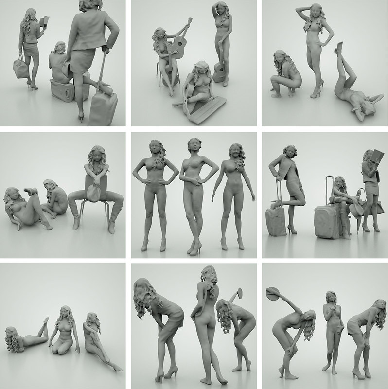 21 girls 3d model