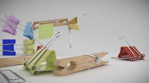 3d model of clips clothes pins
