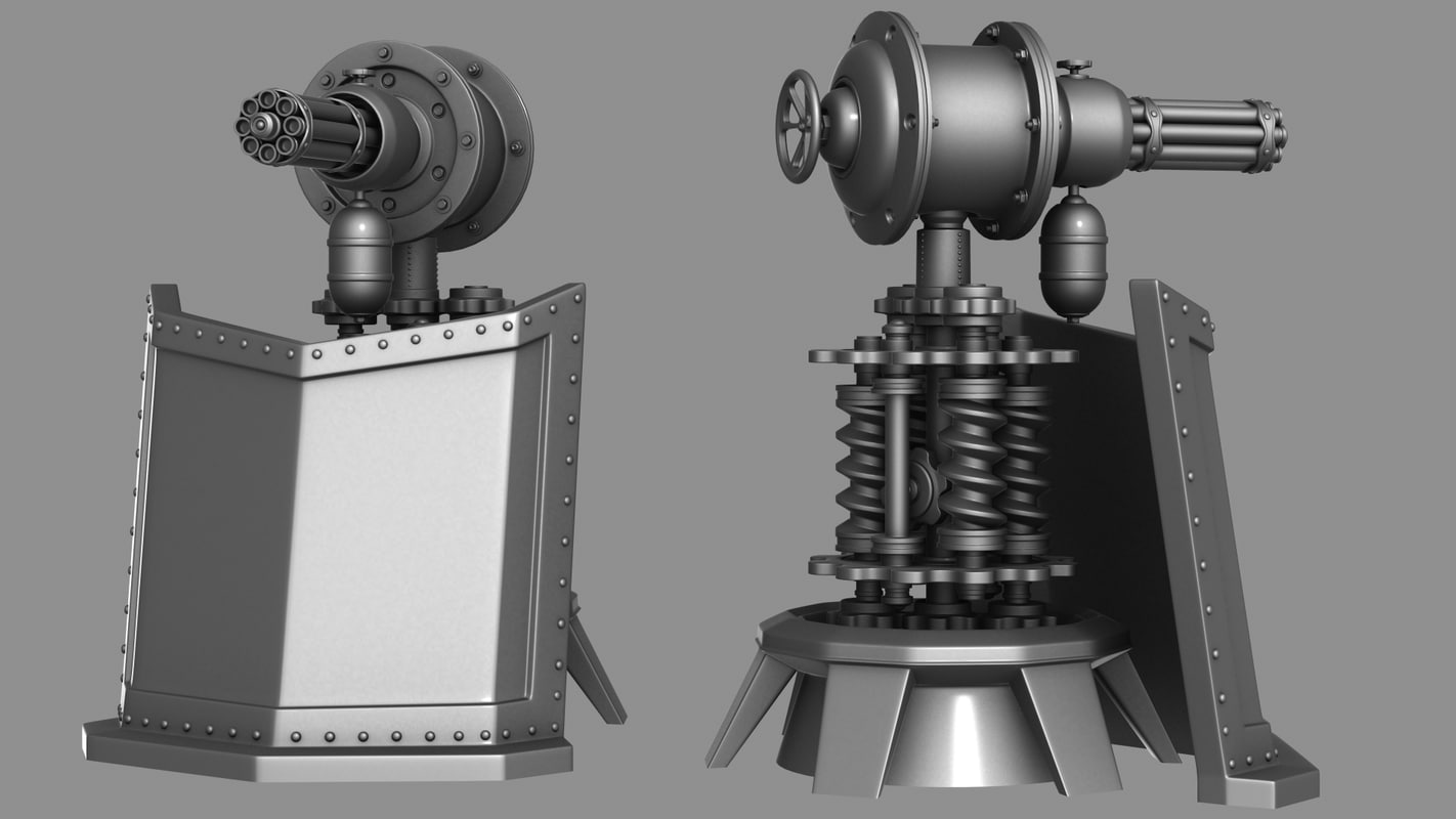 steam punk turret 3d max