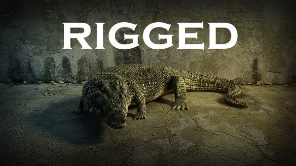 3d realistic crocodile rigged