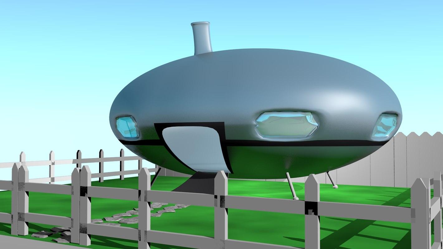 3d spaceship house model