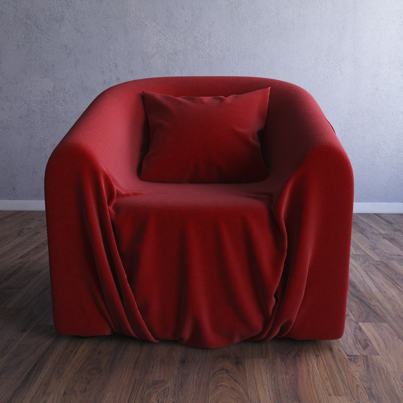 armchair chair wrinkle obj