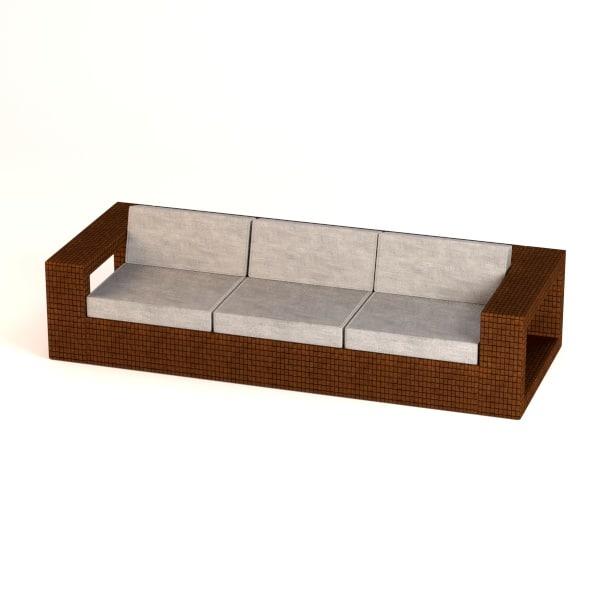 garden furniture sofa 3d model