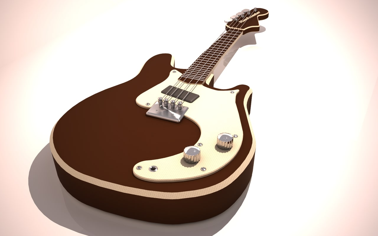 mandocaster guitar 3d c4d