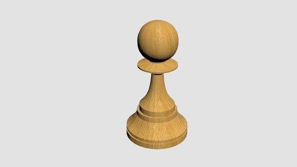 free pawn white black 3d model