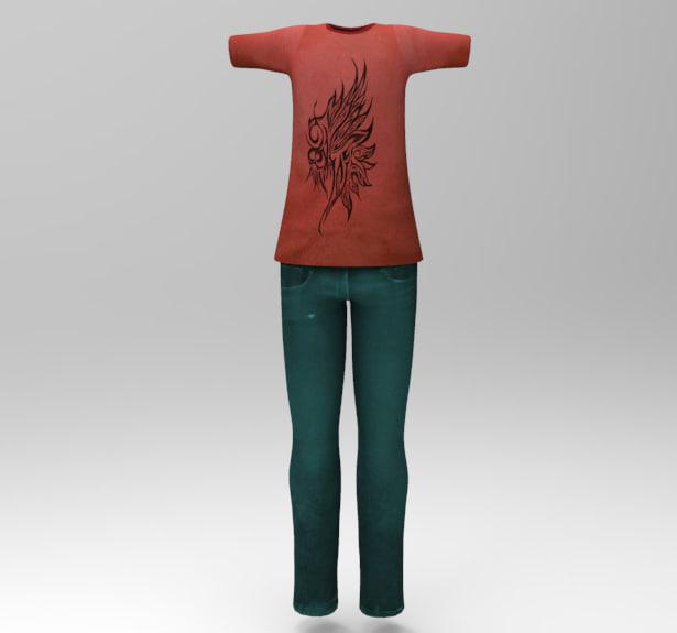 3d boy tshirt shirt model