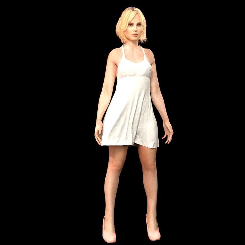 female character 3d blend
