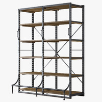 french library shelving 3d model