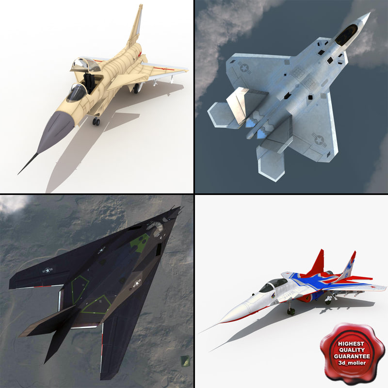 3d jet fighters rigged 2 model