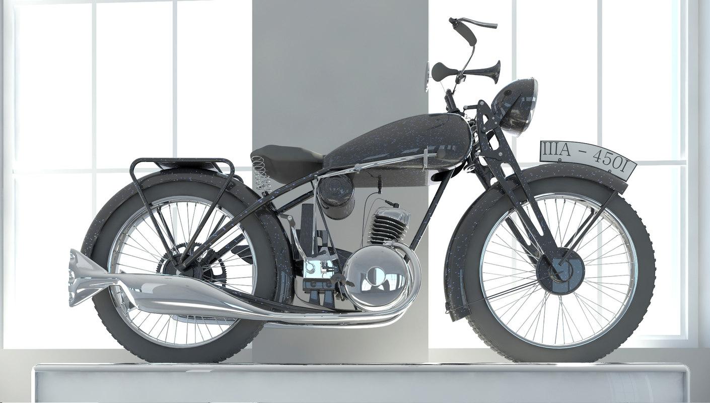 nsu motorcycle 1931 3d model