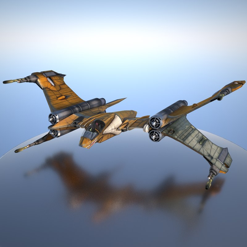 3d t-fighter space materials model